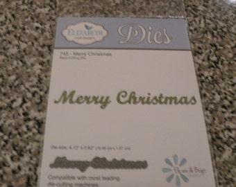 """Elizabeth Craft Designs Die Template, """"Merry Christmas"""" - 745"""