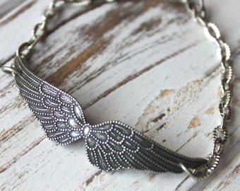 FREE shipping. Antiqued Silver Double Wing Bracelet