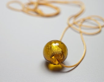 Blown Glass Necklace // Yellow Gold // Hand Blown Glass Necklace // Bead With 24K Gold