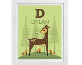 56P Deer Print - Personalized Letter D Nature Deer in Forest Wall Art - Baby Boy Woodland Nursery Decor - Deer Wall Art - Custom Baby Gift