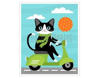 109D Cat Print - Black and White Cat on Vespa Wall Art - Cat Wall Art - Cat Illustration - Cat Art - Cat Nursery Print - Green Vespa Print