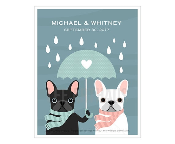 215P Gift for Couple - Umbrella Heart French Bulldogs Wall Art - Gift for Engagement - Anniversary Present - Dog Art Print