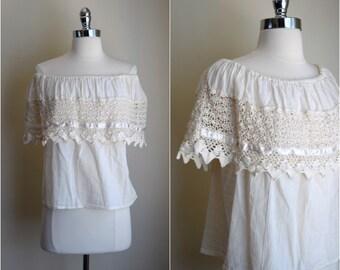 70's cotton gauze off the shoulder blouse / Ivory crochet gauze blouse / boho peasant blouse / gypsy shirt