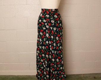 Vintage 1990's Esprit Red White Blue Floral Maxi Skirt M