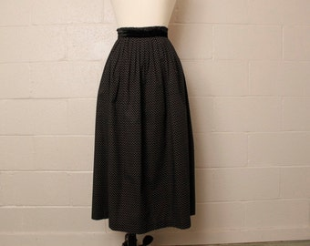 Vintage 1980's Cullinane Black Cotton Rosebud Floral Midi Skirt 29 waist