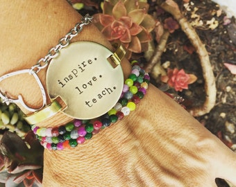 New Brass Round Bangle ID Bracelet -  inspire. love. teach. End of the Year Teacher Gift We love Teachers