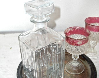 vintage decanter - glass from Italy - home bar decor - retro madmen barware - shabby cottage chic - hollywood regency - wedding table decor