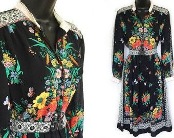 70s Black with Floral Border Print Dress S M