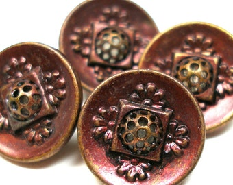 4 Antique BUTTONS, Victorian pierced metal twinkles with maroon tint.