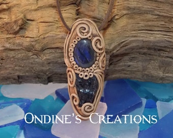 Labradorite, Black Tourmaline Crystal Mineral Healing Stones Hand Crafted Pendant #108