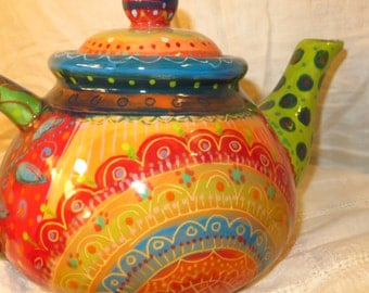 Teapot With Beautiful Saturated Bright Colours  Large Ceramic Teapot