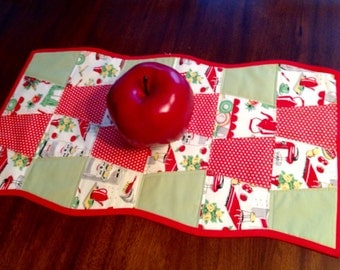 Quilted, Reversible Table Runner 15 X 27 ~ Fifties Kitchen