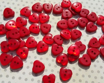 """Red Heart Buttons - Bulk Buttons Hearts Sewing Button - 1/2"""" Wide - 75 Buttons - LAST PACK"""