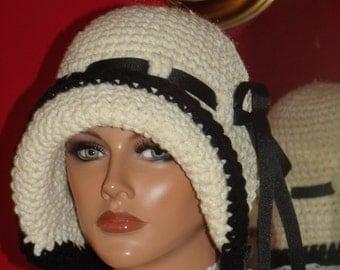 Flapper Hat Cloche  1920 style Crochet Handmade Off WhiteBlack Trim