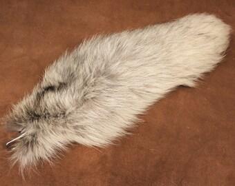 Fox tail - real ecofriendly Golden Island fox fur totem dance tail on carabiner keychain purse charm for shamanic ritual dance GI02