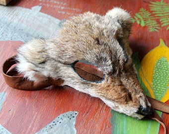 Real eco-friendly wild coyote fur mask - shaped and ready to wear - for ritual, dance, costume and more