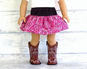 Country Western Skirt, Pink Bandana Skirt, fits American Girl Doll, Cowgirl Skirt