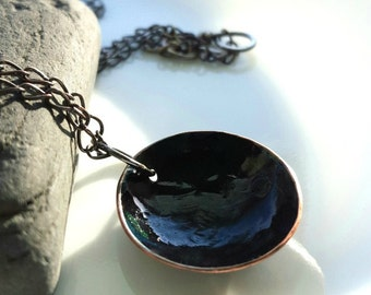 Dark Full Moon Layering Necklace, Solid Copper, Goth, Wiccan, Women, Men, Guys, Moon Jewelry, Ink Jewelry,  Astronomy Moon, Inked