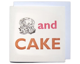 Letterpress Festival Greetings Card - Tea and Cake