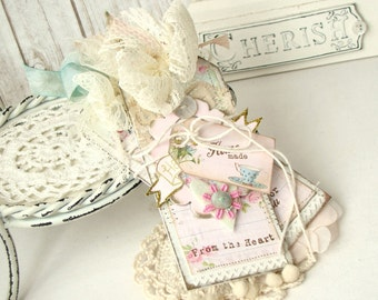 Handmade Just For you  Shabby  Chic Handmade Tag Set