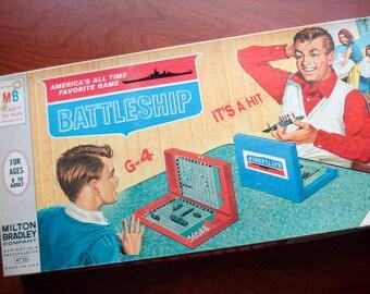 Battleship - Vintage game - 1967 Milton Bradley - excellent condition - hilarious box art