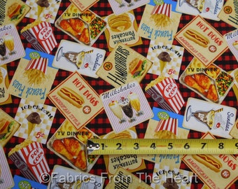 1950's Diner Food Hamburgers Rock Around The Clock BY YARDS Blank Cotton Fabric