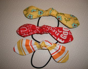 Hair Tie . Ponytail . Top Knot Bow . Set of Three . Cute