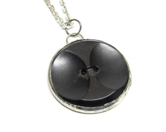black Bakelite button necklace . great gift for the mid century collector