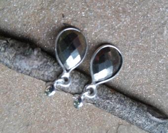 Bezelled Labradorite Gemstone on Sterling Earwires