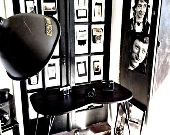 Vintage Industrial Repurposed Table with Metal Truss Legs