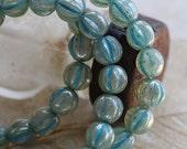 10% off BLUE MERCURY MELONS .. New 25 Picasso Czech Melon Beads 6mm (5327-st)