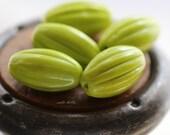 GREEN MELONS .. 6 Premium Czech Oval Melon Beads 14x8mm (5388-6)