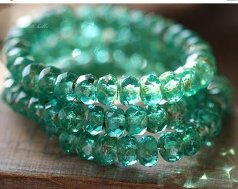 10% off TEAL GREEN BITS .. 30 Premium Picasso Czech Rondelle Glass Beads 3x5mm (4467-st)