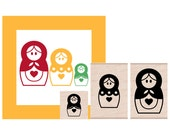 Matryoshka Russian Nesting Dolls Set  Rubber Stamps