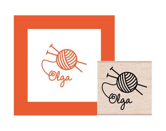 Knitting Personalized Rubber Stamp