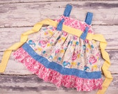 Toddler Girl Clothes, Easter Dresses, Girls Dresses, Girls Knot Dress Spring in Easter Egg Hunt by Charming Necessities
