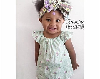 SALE Baby Girl Clothes, Toddler Girl, Baby Girl Bloomers, Mint and Lavender Flutter Top Shirt and High Waist Bloomers Outfit