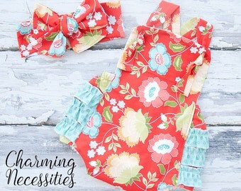 Baby Girl Clothes, Fall Toddler Girl Clothes, Sunsuit Bubble Romper in Red Aqua Floral by Charming Necessities