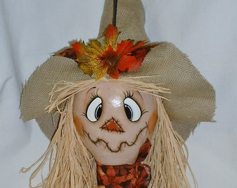 Scarecrow Gourd for Fall - Hand Painted Gourd