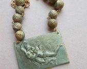 ON SALE Cupid Psyche Necklace, Greek Mythology Necklace, Amore Angel Necklace, Vintage Gray Beads, Mixed Media Resin Necklace, Fantasy Neckl
