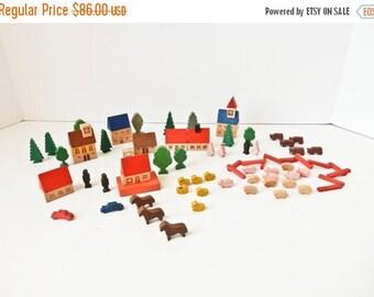 ON SALE Vintage Wood Village Farm Toy Set, 85 Wood Blocks East Germany