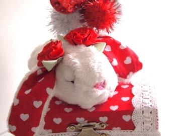 ON SALE Love Bunny Jewelry Treasure Box Cute Handmade Plush Kawaii Sweet Love