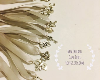 cake pulls New Orleans , 12 charms, Set 1 ribbons,12 meaning cards,YOU choose color,length bridesmaids charm cake wedding bride  game