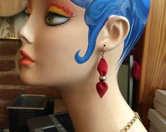 Red Suede and metal earrings
