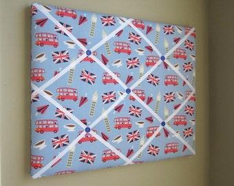 16x20 French Memory Board or Bow Holder, Ribbon Board, Photograph Organizer, London Calling Blue British Icons, Bus, Tea, Umbrella, Big Ben