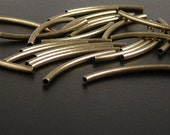 Tube Bead 25 Curved Tube Bead Antique Bronze 30mm NF (1019tub30z1)
