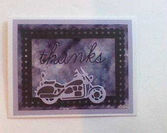 Thanks card Motorcycle black,grey and purple