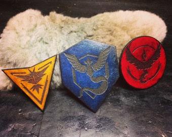 Pokemon team patches with Velcro backing Team valor mystic instinct