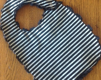 NEW...Black and Silver Striped Baby/Toddler Bib