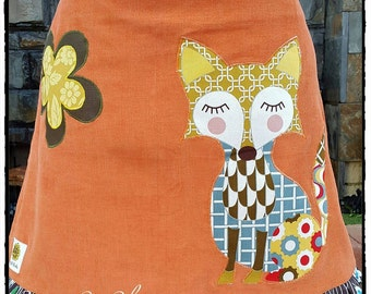 Womens Short Burnt Orange Corduroy A-Line Fox Skirt with Stripes and Flower Ruffle
